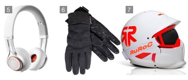 5. Jabra REVO Wireless headphonee, 6. Terra Nova Extremities® Women's Super Thicky Gloves, 7. Ruroc RG1-X Nova in Arctic White/ Nova Orange