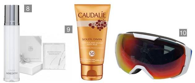 8. Linda Meredith Serum, 9. Caudalie Anti-ageing Face Suncare SPF50, 10. Sportviz Ski Mask