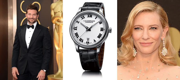 LR: Oscar Nominee Bradley Cooper, Chopard's L.U.C 1937 Classic timepiece, Winner for Best Actress in a Leading Role,