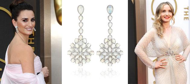 LR: Presenter Penelope Cruz, Chopard opal drop earrings, featuring 62 white opals, Actor and writer Julie Delpy