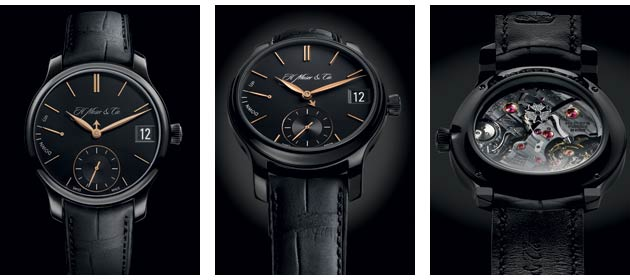 """The burnished glow of the Perpetual Calendar Black Edition hints at the material within: the case and pin-buckle clasp are titanium with a DLC treatment. Even the extrusions of the Moser """"M"""" on the crown are purely etched from this hard metal and finished immaculately."""