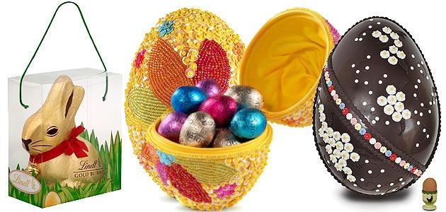 LR: Lindt: Giant Gold Bunny, Godiva: Easter Chocolate Temptations, Charbonnel & Walker: Big Bertha