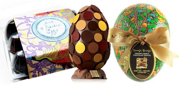 LR: Rococo Chocolates: Birds of Paradise, Pierre Herme: Oeuf Galets, Booja-Booja