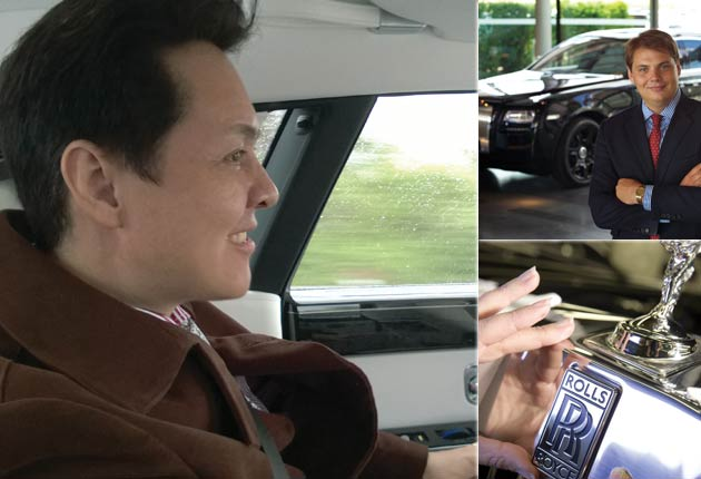 James Warren shown top right and Paul Godbold in the Rolls-Royce Phantom after his visit to the Rolls-Royce head office at Goodwood
