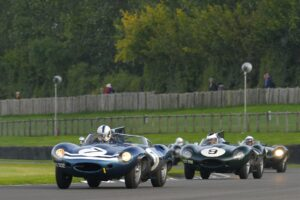 Jaguar D-Types battle at Goodwood Revival
