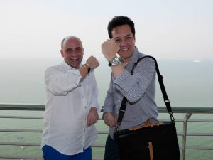 Paul Godbold and horological legend Georg Bartkowiak, co-founder of Grieb and Benzinger wearing some of the brands most expensive timepieces in Penang, Malaysia.