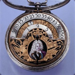 Paul Lullin, pocket watch with wondering hours indication, silver, brass and enamel, case signed AH, London, beginning of the 18th century