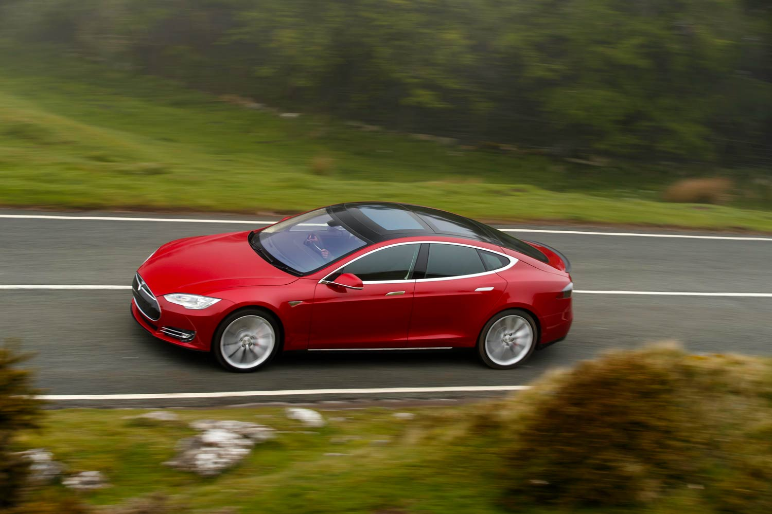 The Tesla Model S on the road