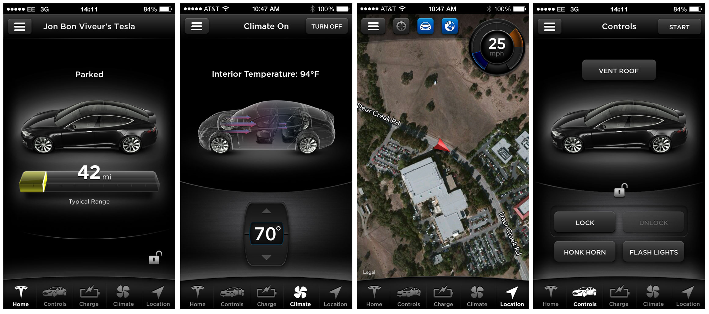 The Tesla Model S has an app that runs on the iPhone