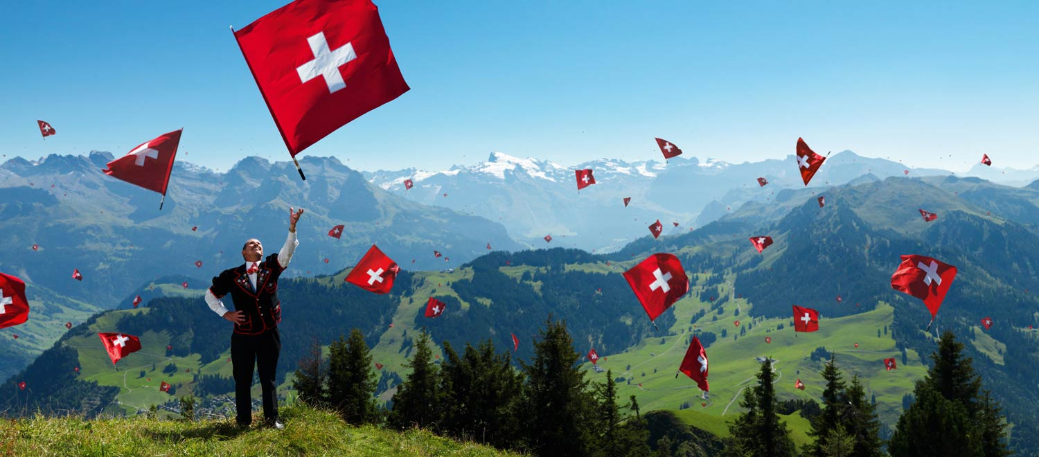 Flag throwing on Swiss National Day