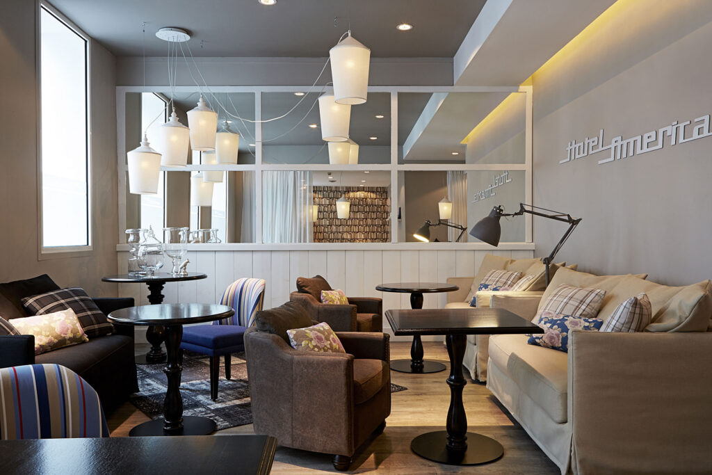 The 28-room boutique Hotel America, a converted traditional townhouse which is superbly located close to the beachfront
