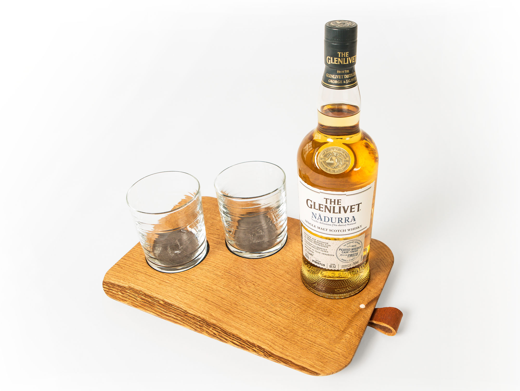 The Dram Tray features Peated Oak