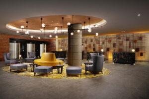 The main lobby at the Hilton London Bankside