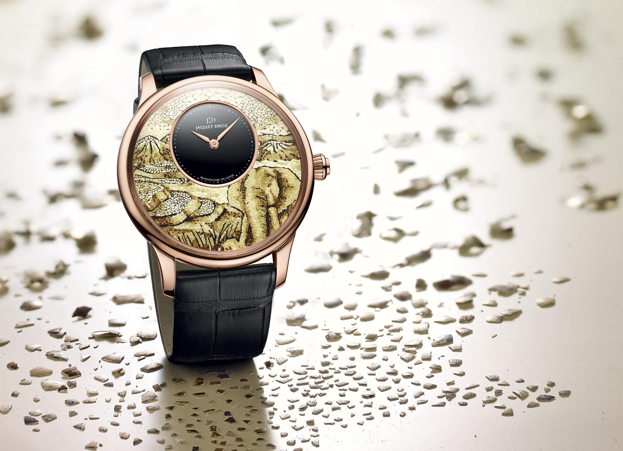 The Jaquet Droz Petite Heure Minute Mosaic Elephant