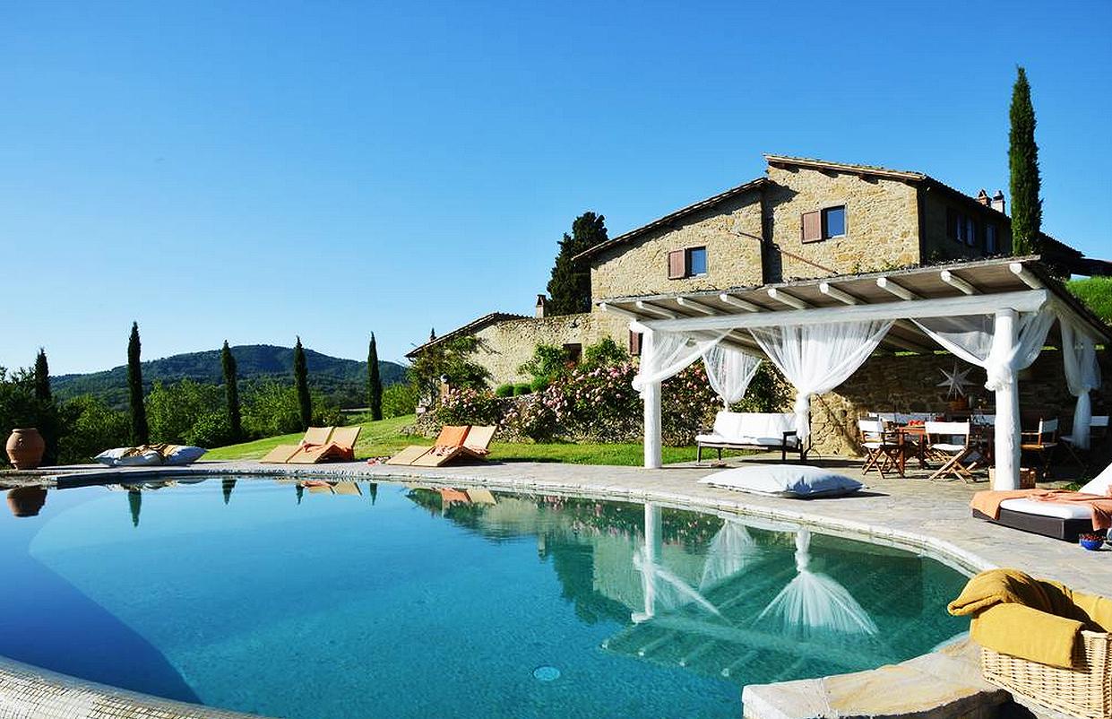 By the pool at Villa Il Cortile Pratolino in Tuscany