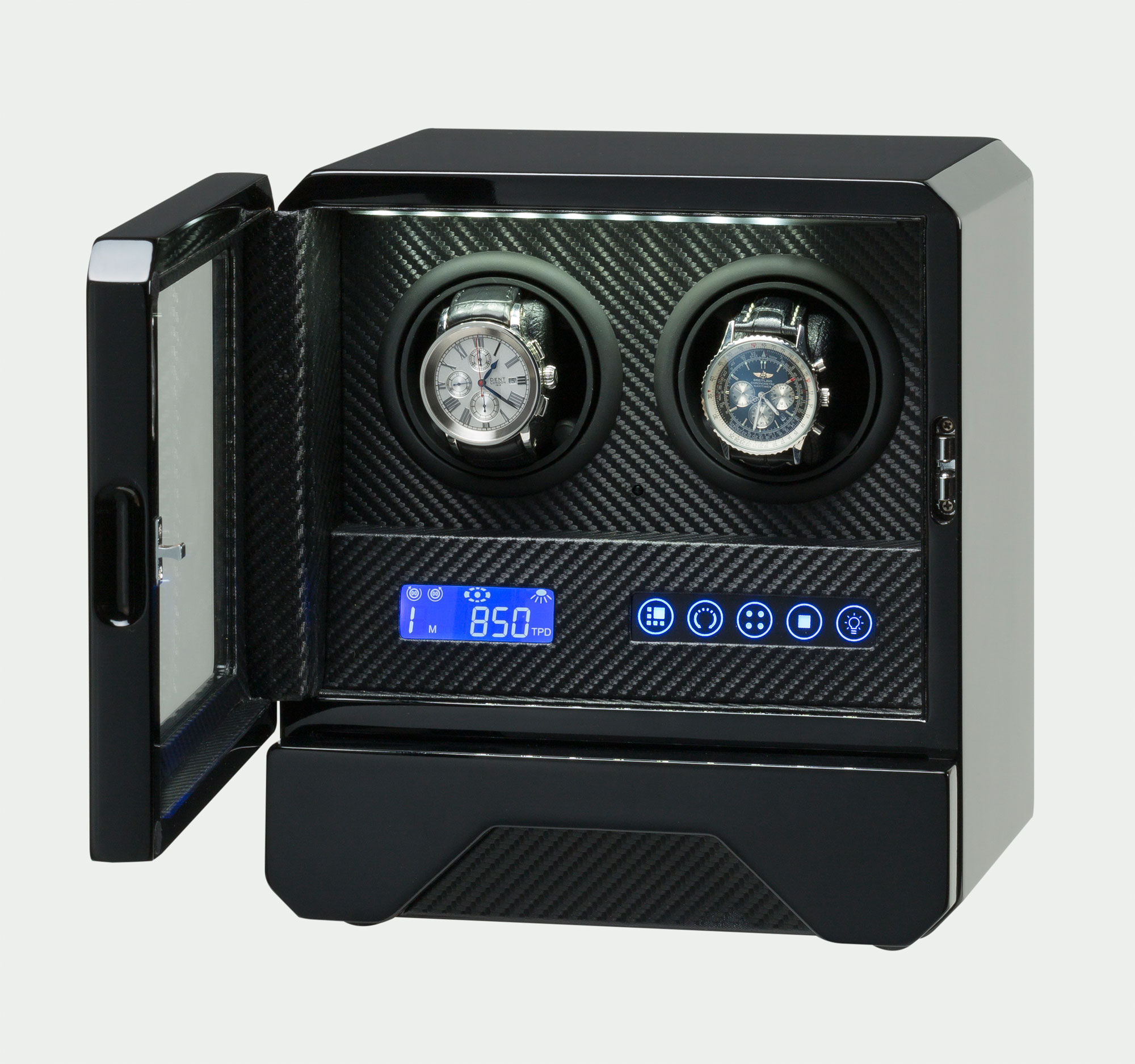 Barrington Double Watch Winder with the case front opened