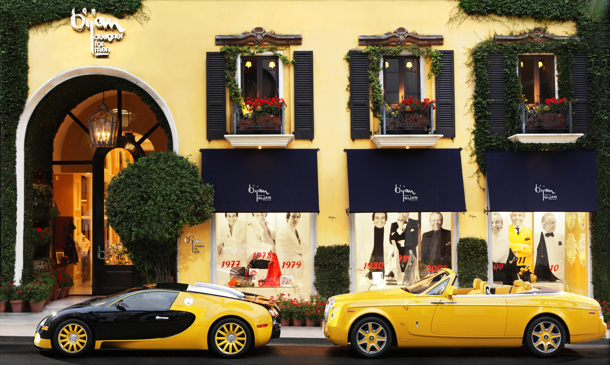 A beautiful Rolls-Royce and Bugatti Veyron outside the House of Bijan in Beverly Hills