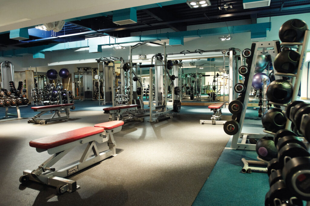 The freestyle weights area inside the Harbour Club, Chelsea