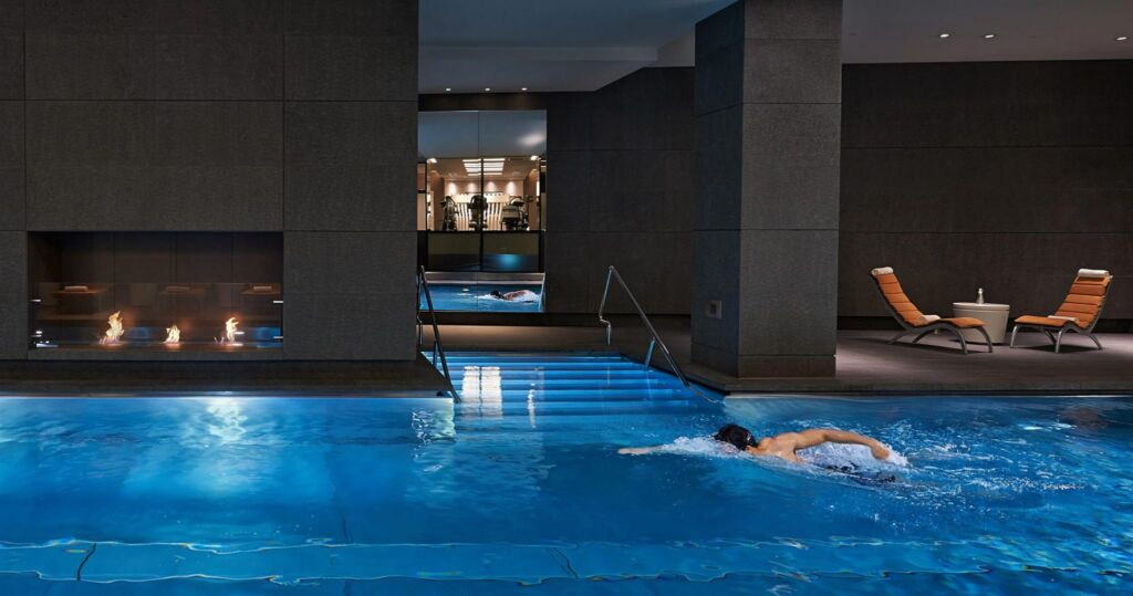 A person swimming in the indoor pool at the Mandarin Oriental Fitness Centre, Hyde Park