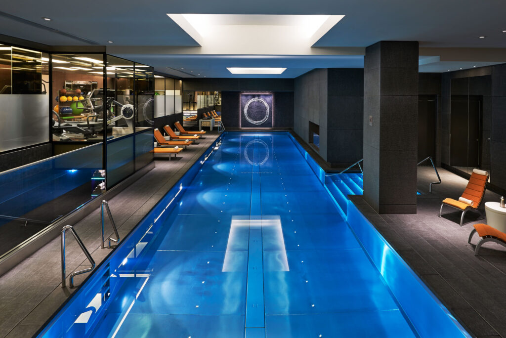 A photo of the indoor swimming pool at the Mandarin Oriental Fitness Centre, Hyde Park