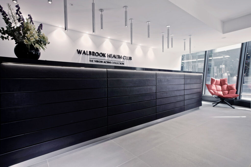 The reception area in Virgin Active's Walbrook Club, Cannon Street