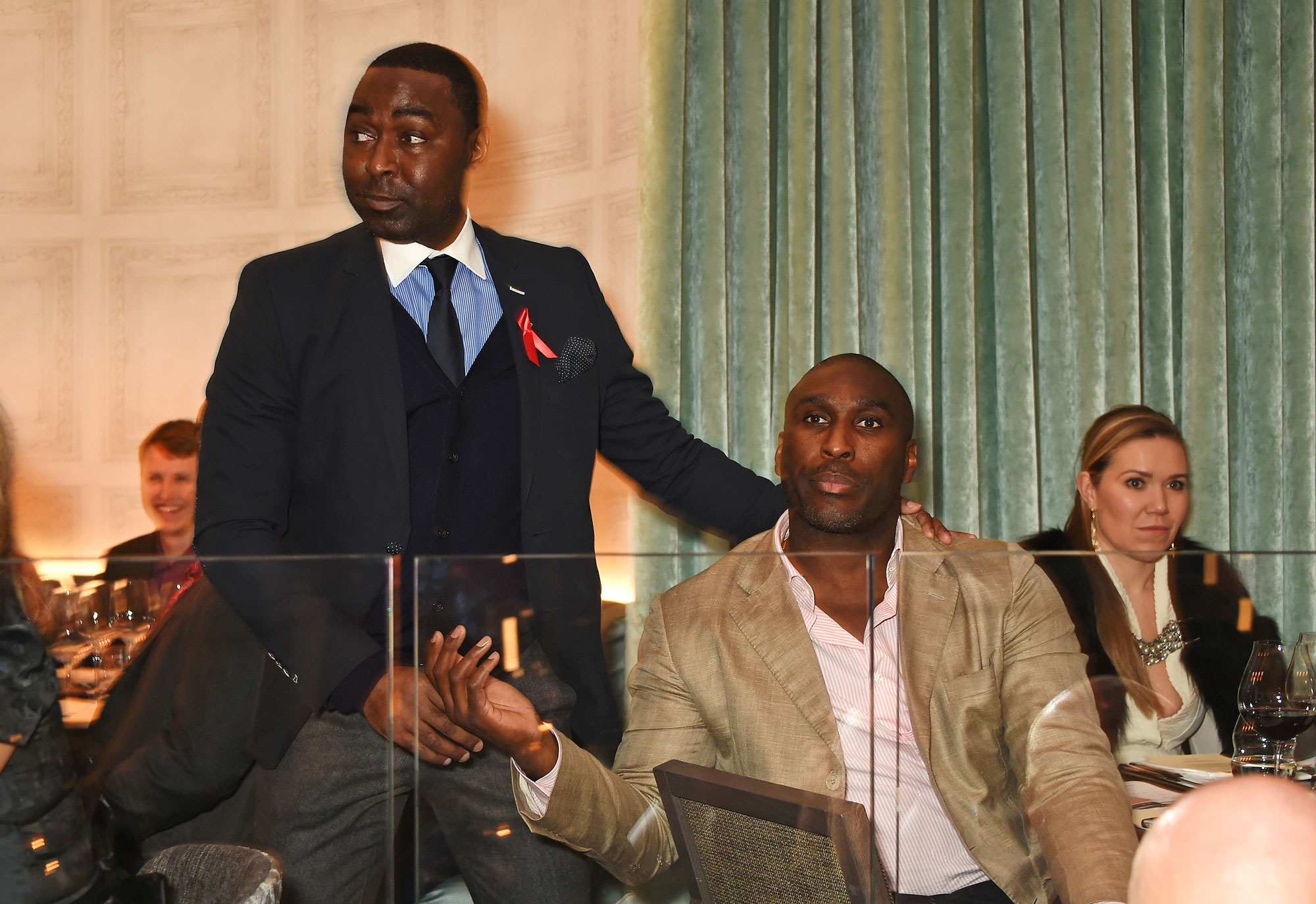 Former professional footballers, Andrew Cole and Sol Campbell at the launch Of M Victoria Street