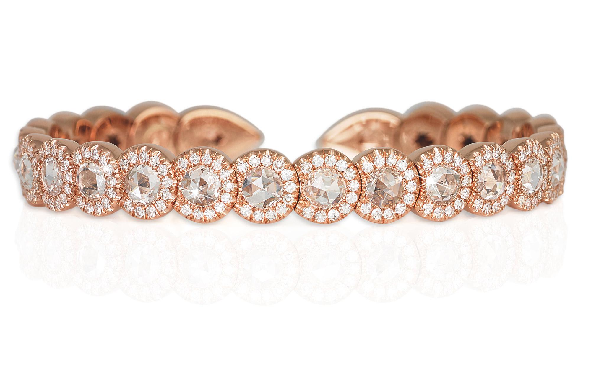 David Morris Rose Cut Rose Gold Bracelet