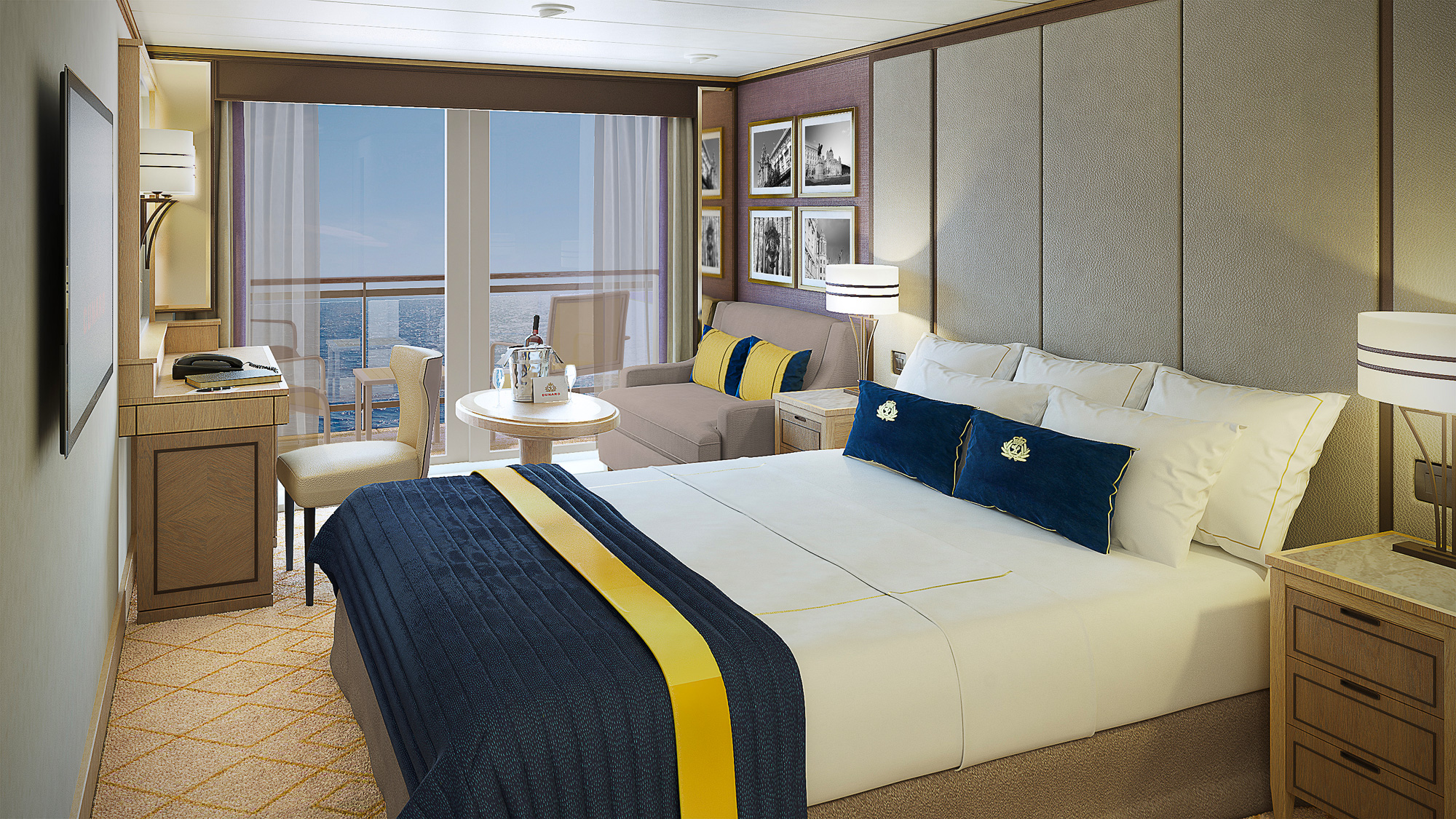A rendering of a Britannia Club Balcony Stateroom