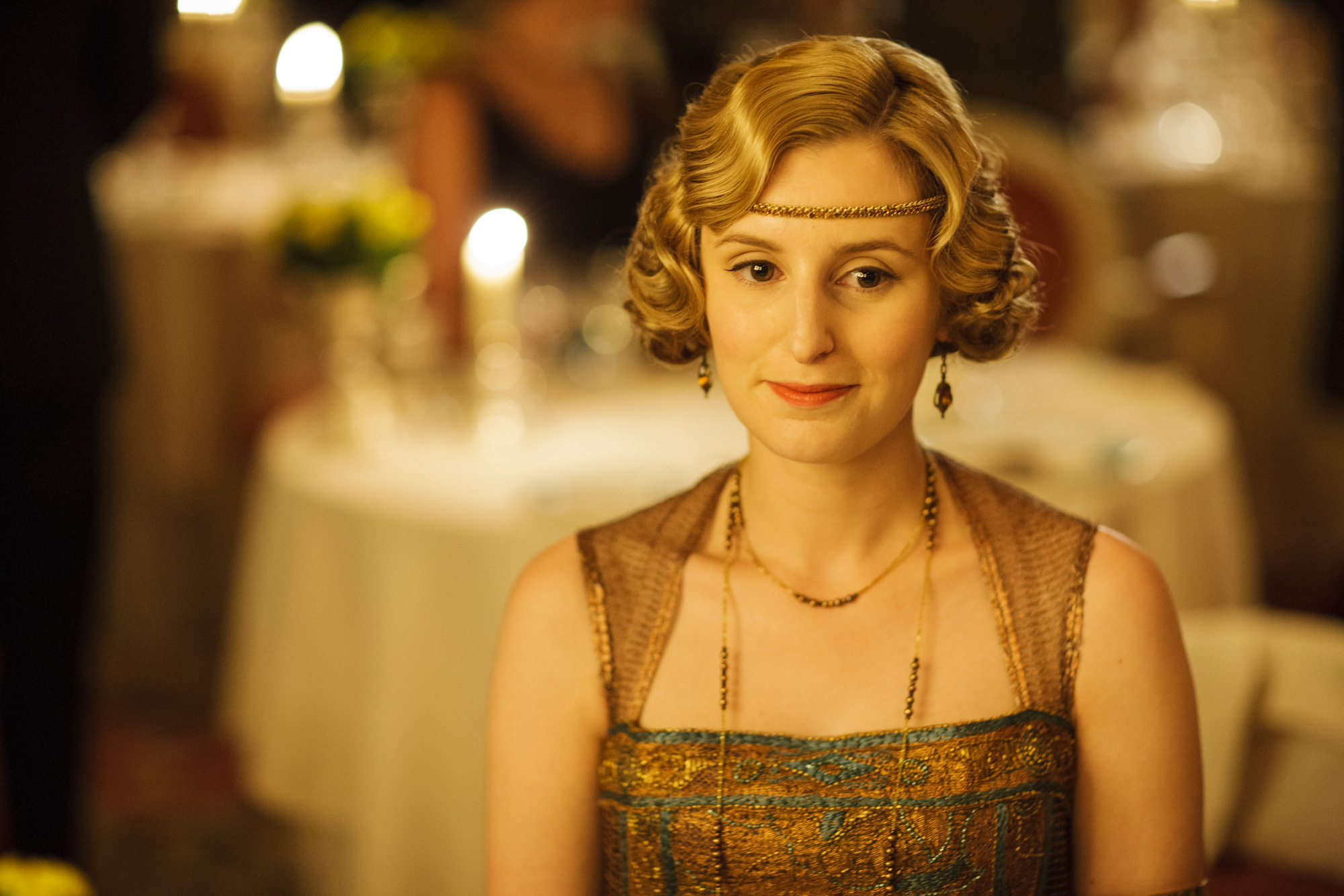 Lady Edith contemplates here future in the splendour of the Restaurant at The Ritz.