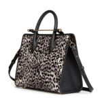 The Strathberry Midi Tote Snow Leopard hair calf