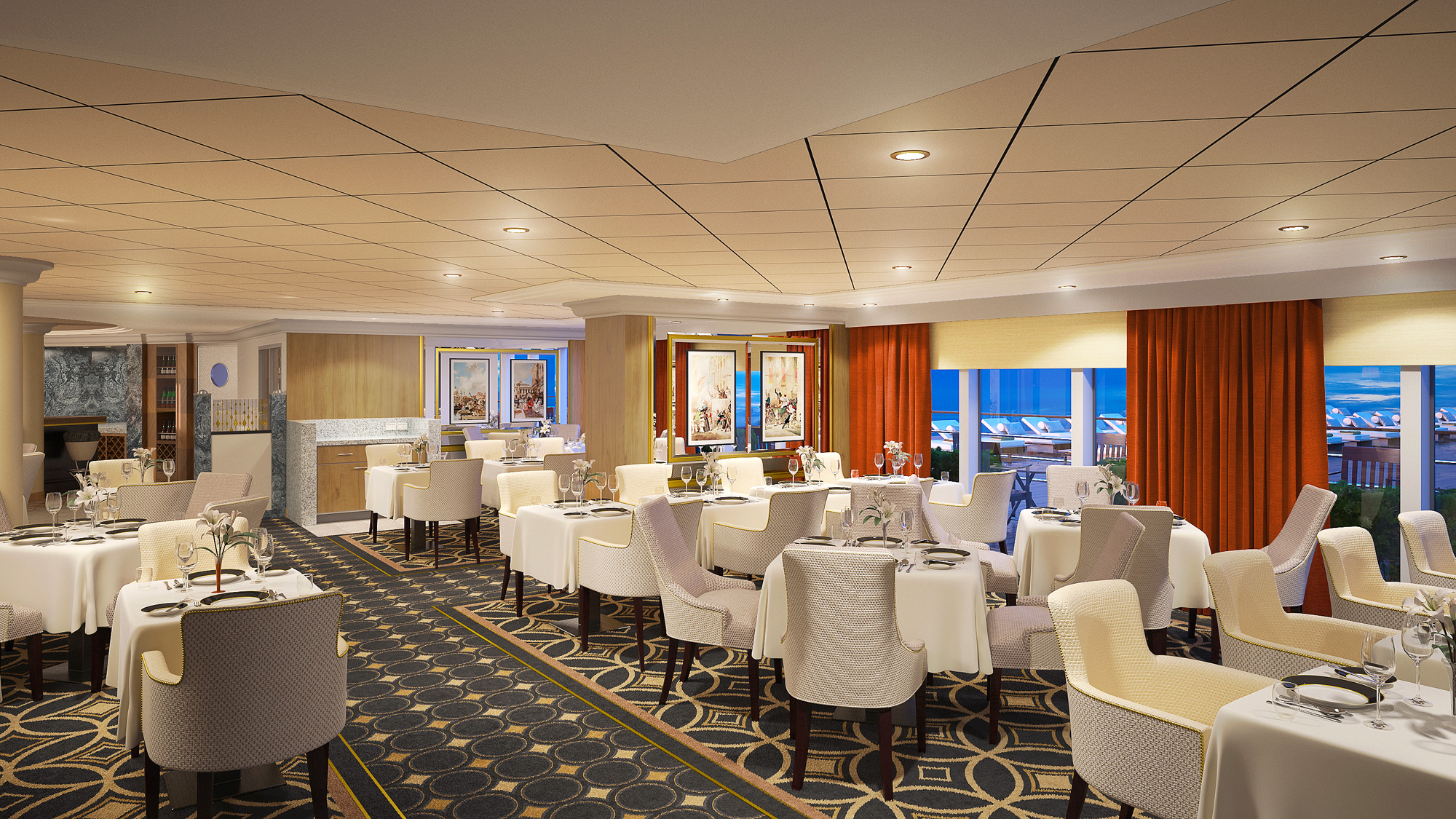 A rendering of the refurbished Verandah restaurant on the Queen Mary 2