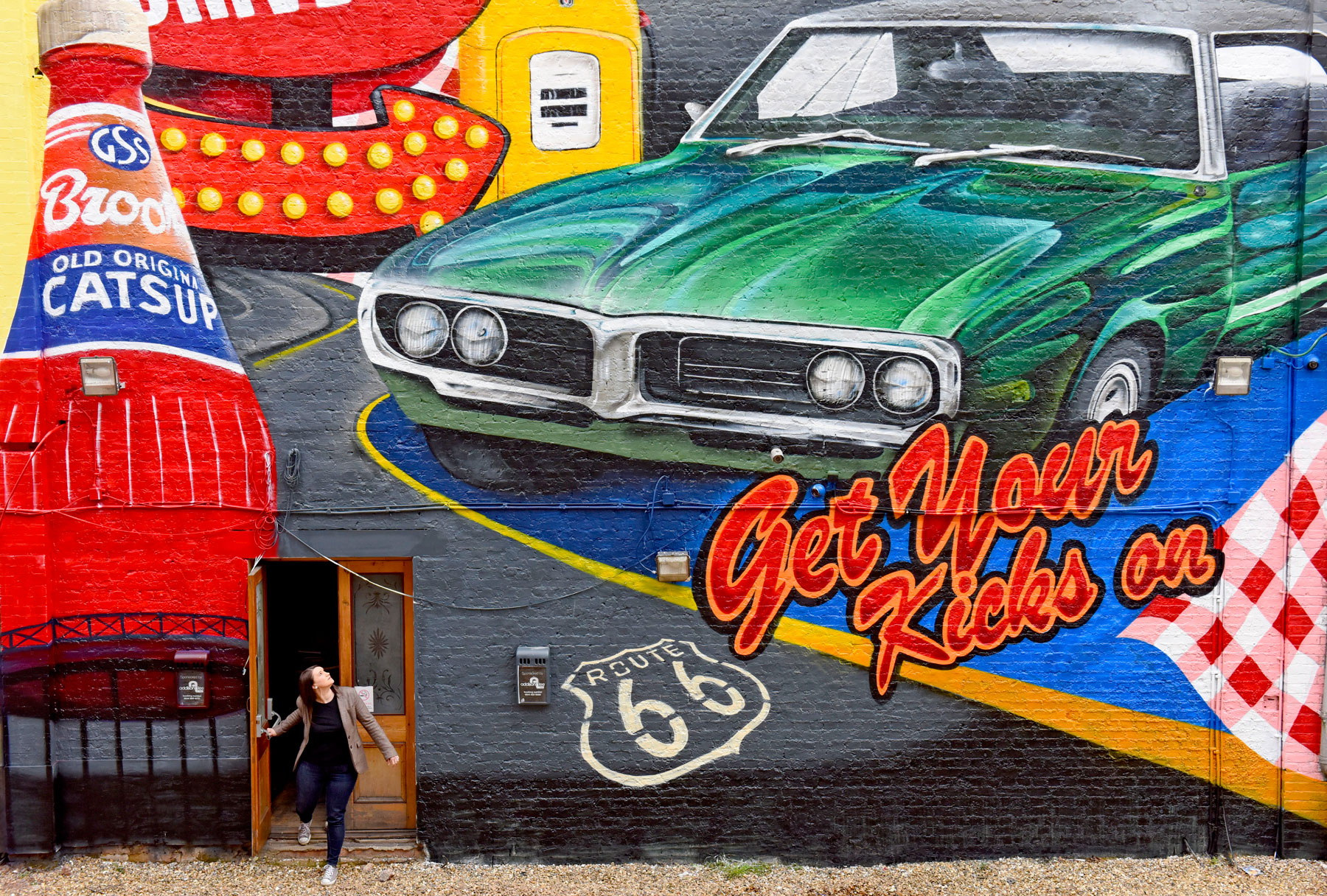 London wall mural for route 66 39 s 90th anniversary for Route 66 mural