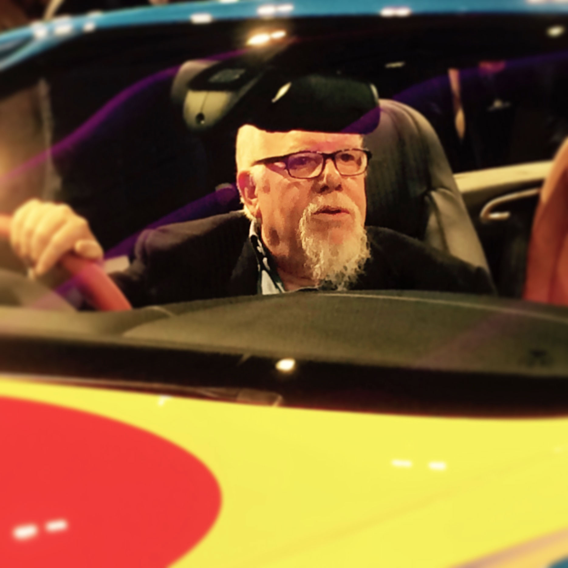 Sir Peter Blake at the wheel of the Bentley V8