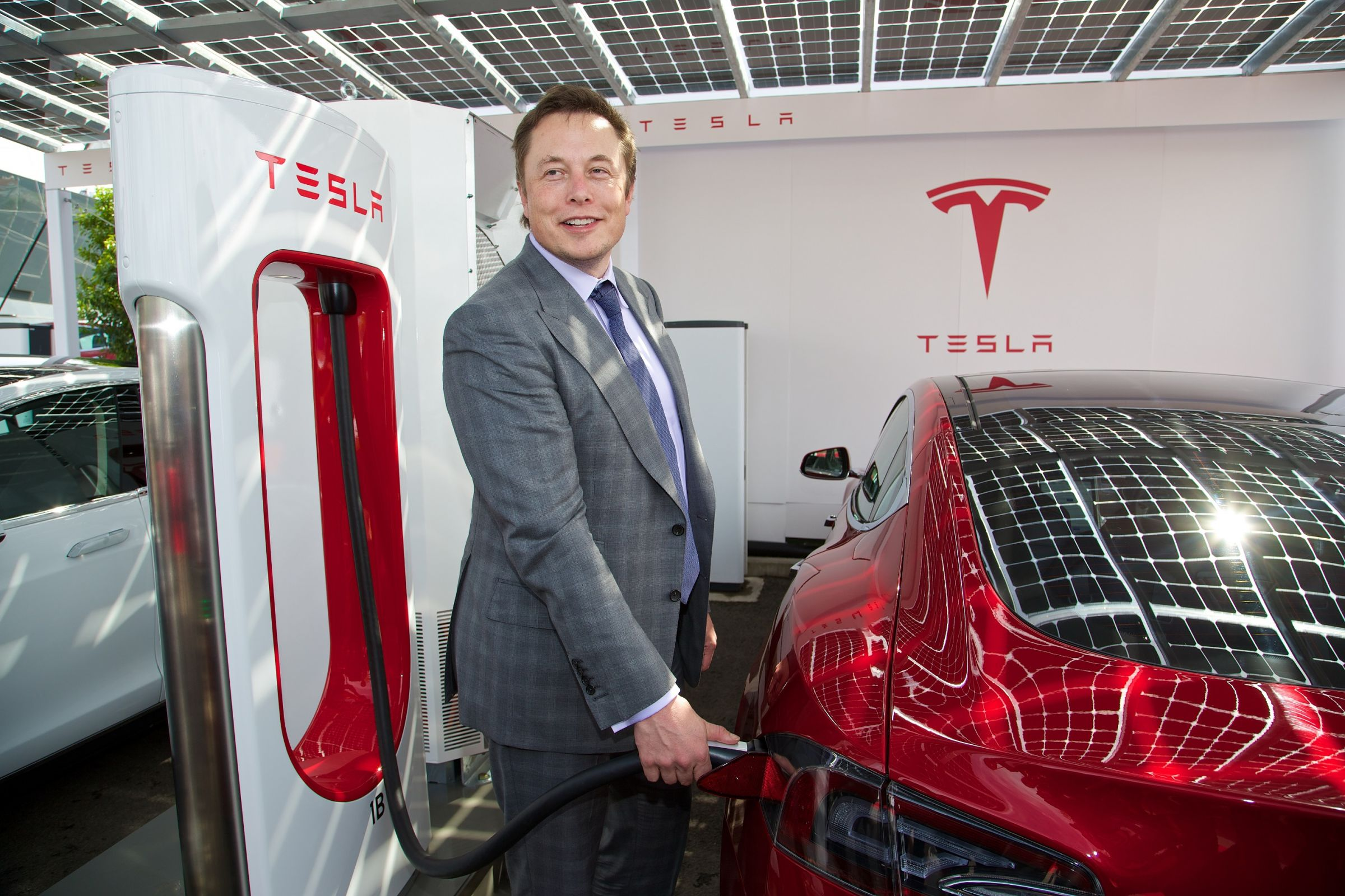 Tesla CEO Elon Musk at first UK Supercharger