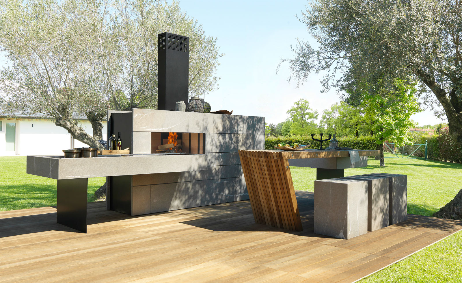 Bring the inside outside with the modulnova outdoor kitchen for Kitchen set expo