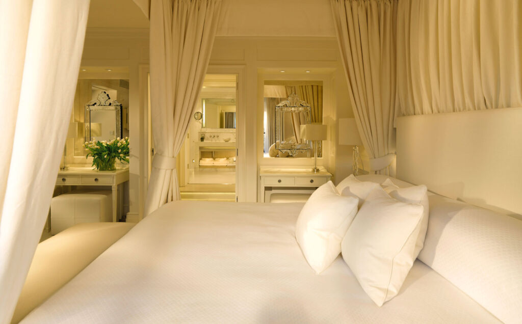 Inside one of the beautifully decorated bedroom suites at Le Manoir