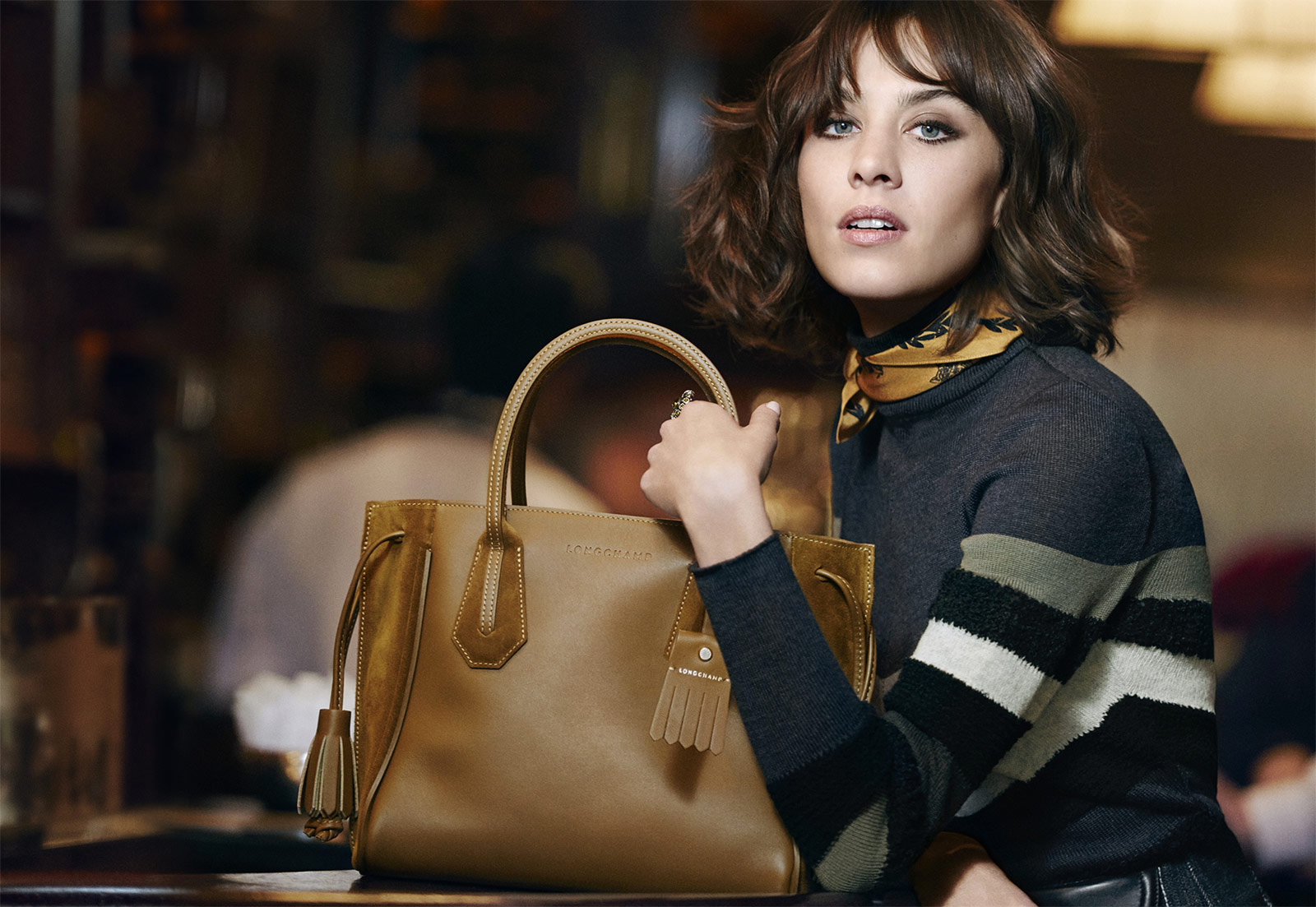 Glamour girl and style icon Alexa Chung fronts Longchamp's Autumn 2016 advertising campaign for the second time