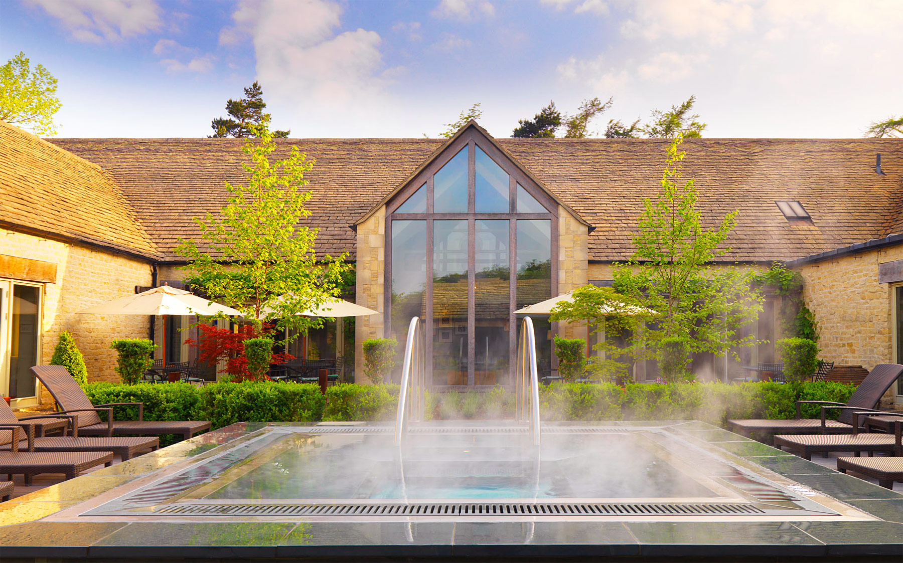 The outdoor spa pool at Calcot In the Cotswolds