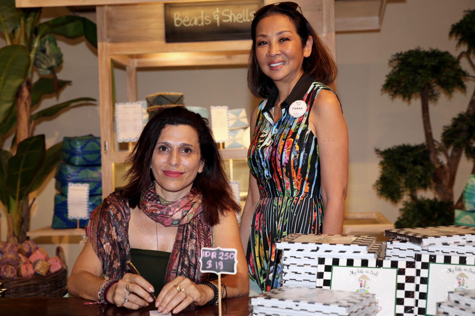 Sandrine Soimaud author of My Life in Bali (left) with Dato'-Seri Farah Khan
