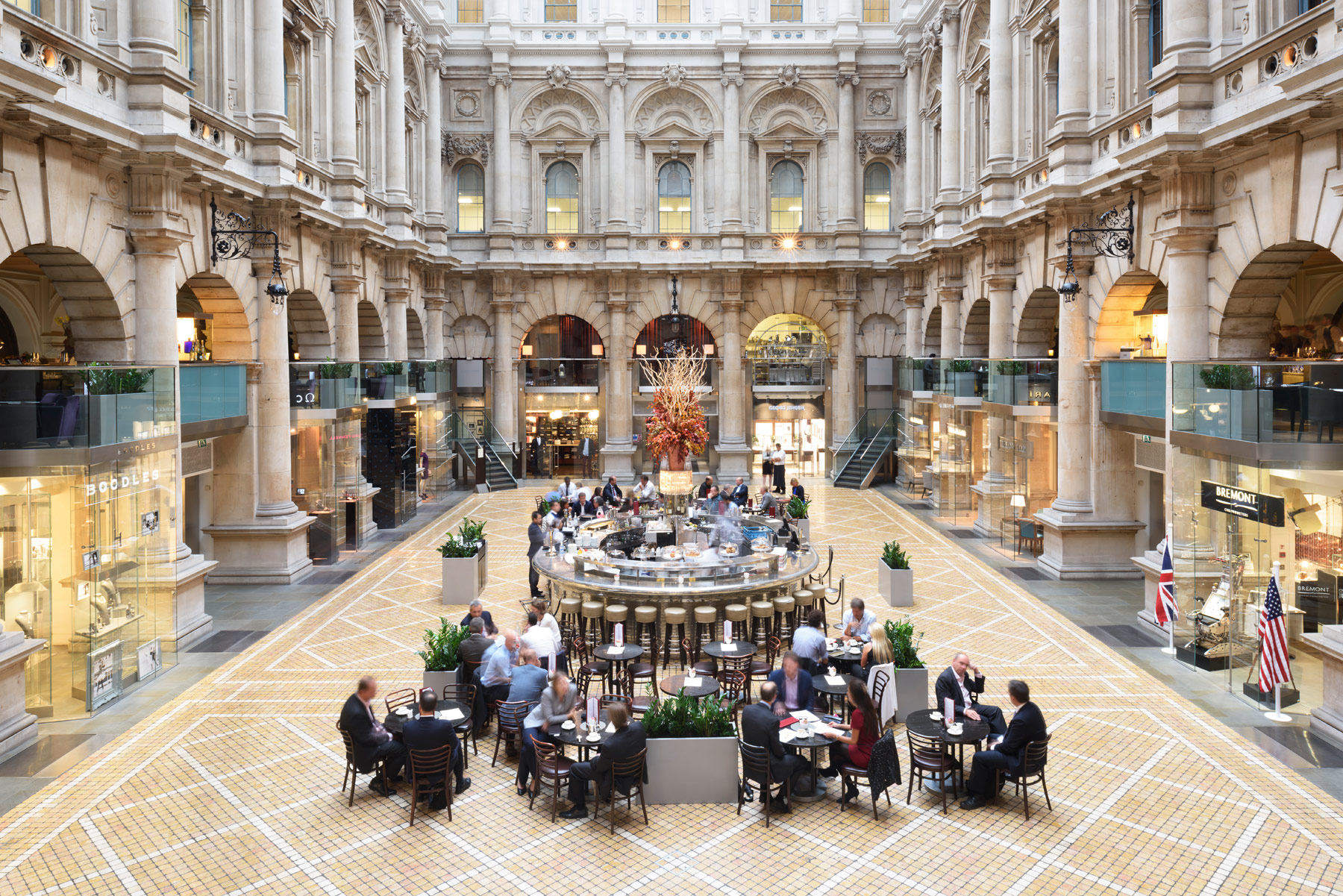 The Royal Exchange is the famous home of luxury shopping for the City of London