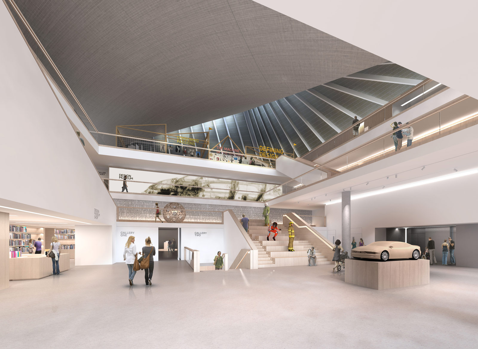 A render of the ground floor at the new Kensington location for the Design Museum. Image by Alex Morris Visualisation