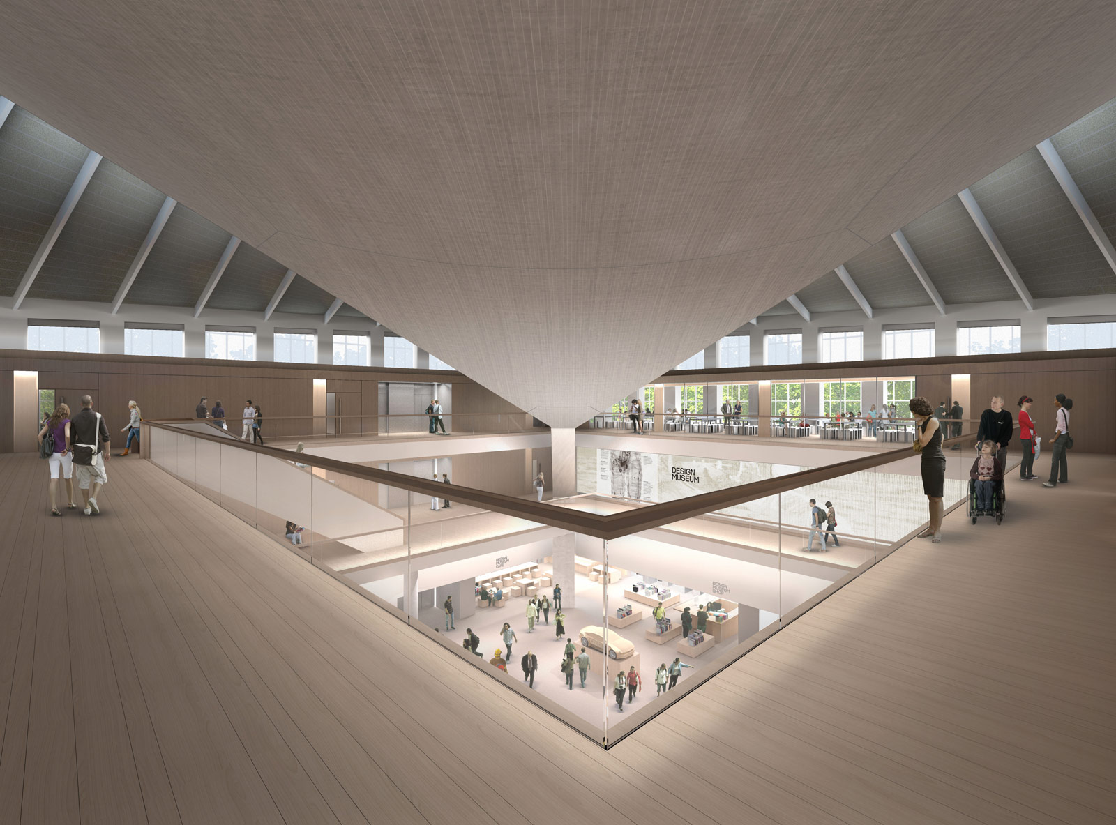 A render of the atrium at the new Kensington location for the Design Museum. Image by Alex Morris Visualisation