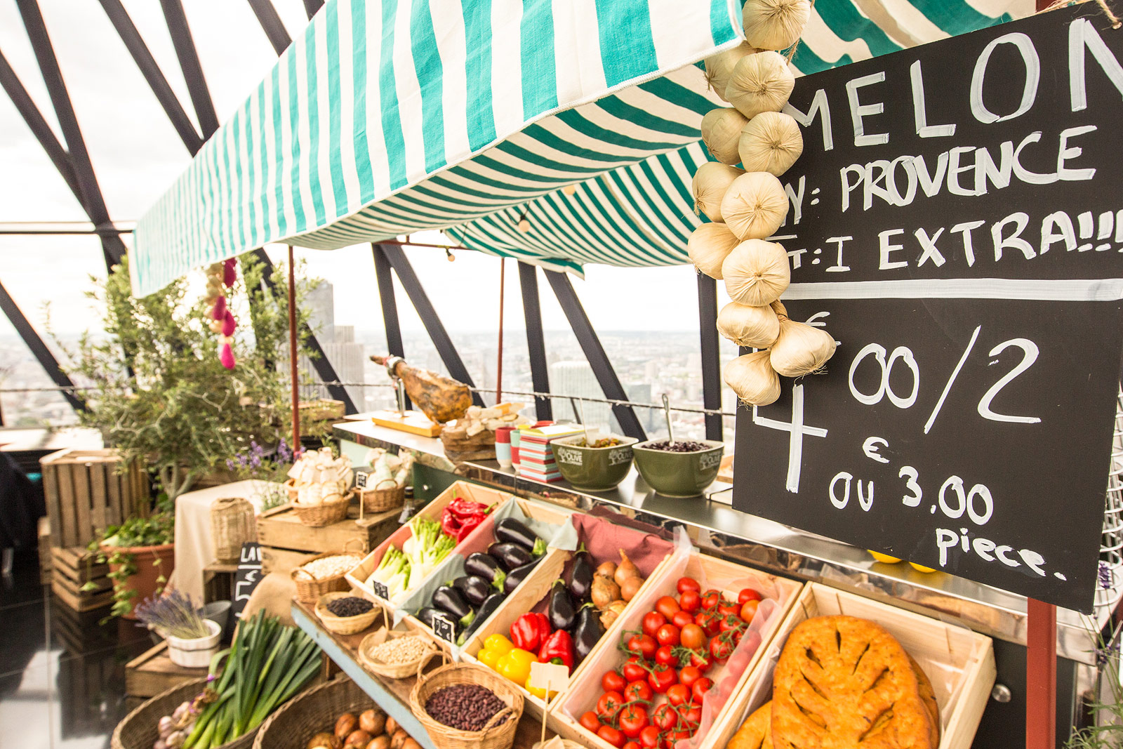 The French market at Searcys Summer Sky Riviera Bar
