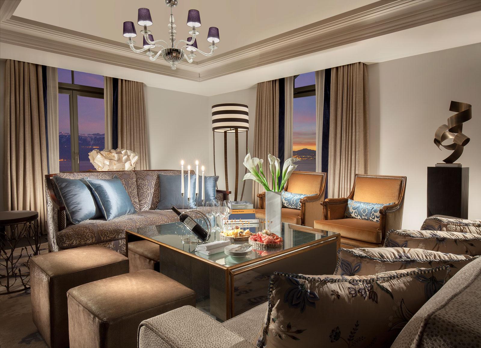 Hotel Royal Savoy Lausanne living room inside suite