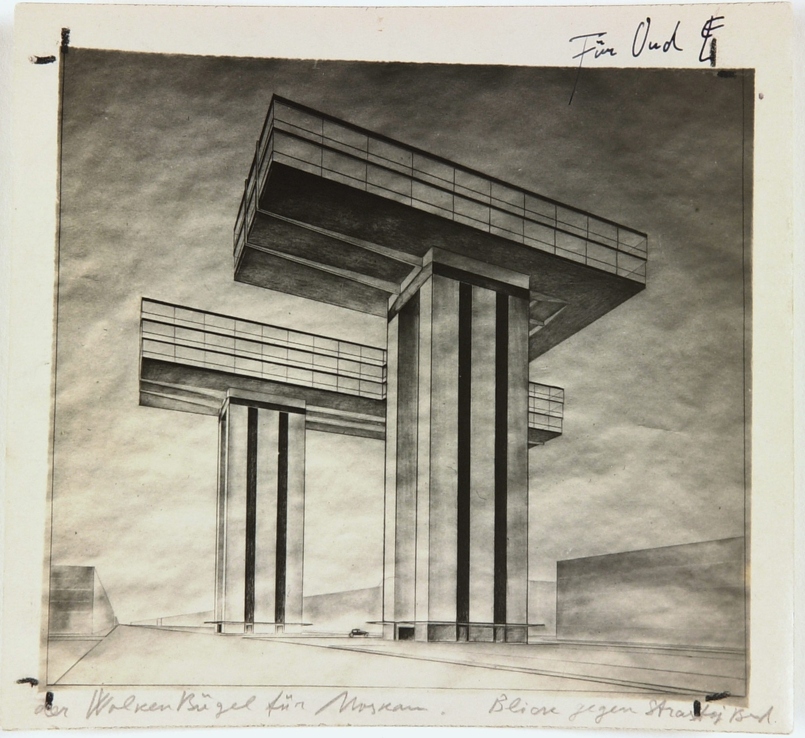 El Lissitzky, Photo by the artist of his design Cloud Iron. Ground Plan. View from Strastnoy Boulevard, 1925