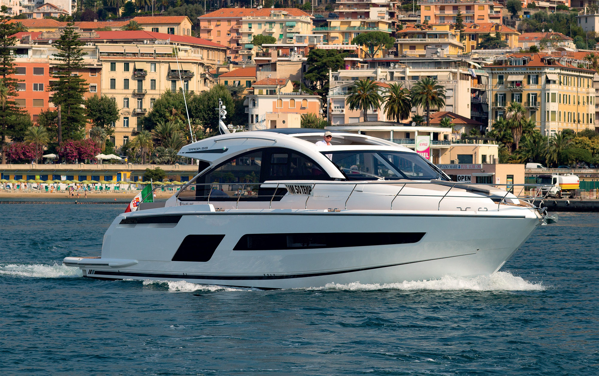 Zoë Bing, somewhere off the Italian Riviera, samples la dolce vita on a Targa 53 GT