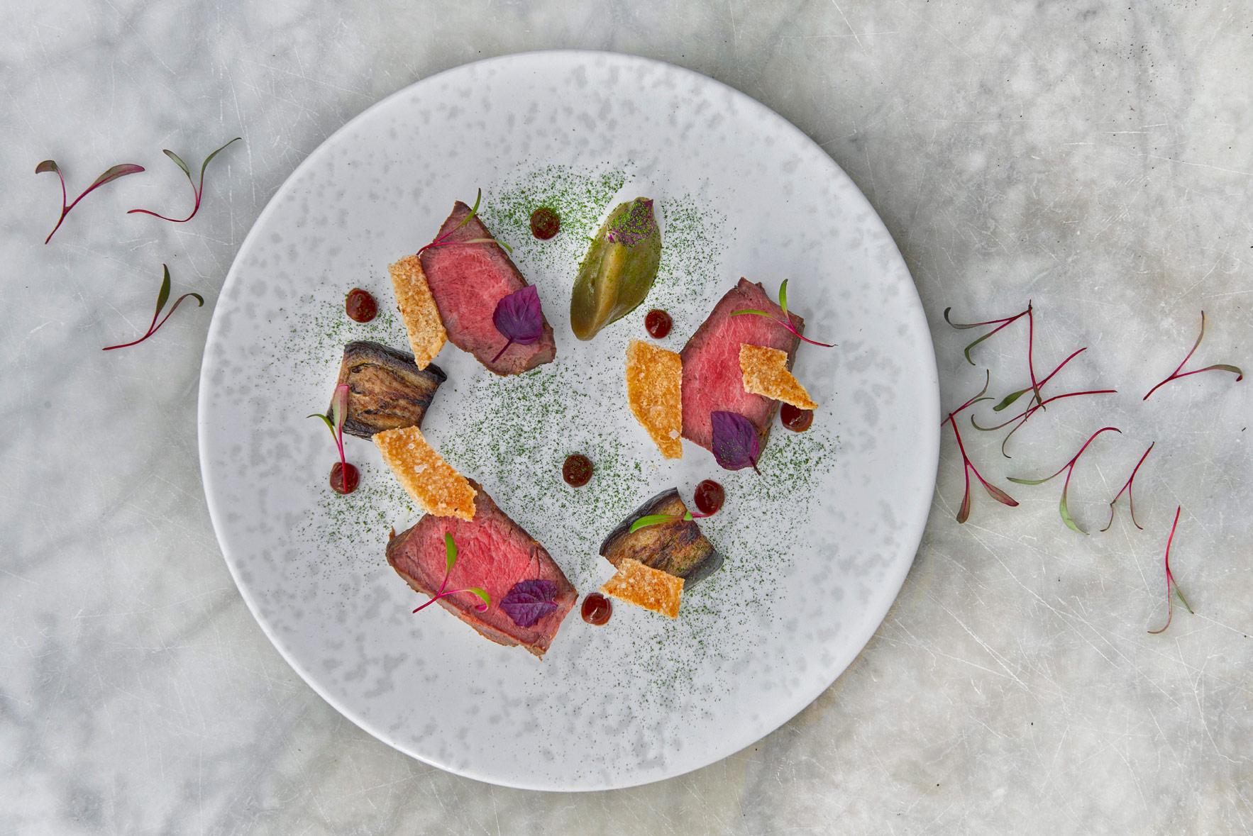 Iberico-presa,-aubergine,-ponzu,-crackling