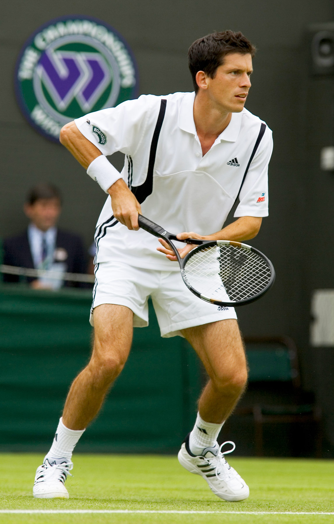 Tim Henman playing at Wimbledon