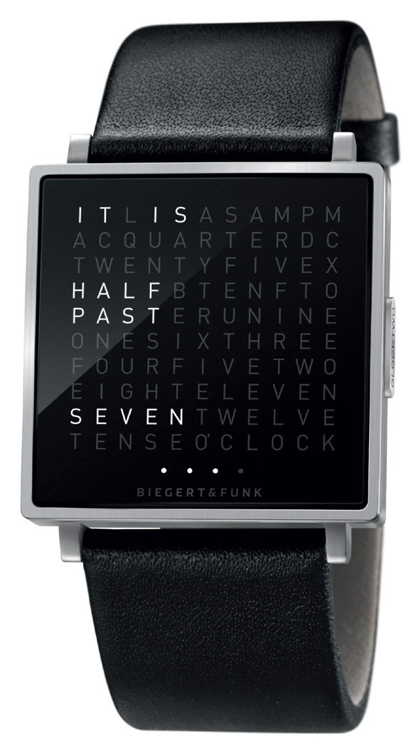 QLOCKTWO wall clocks are available in several sizes and numerous colours – and the front plates can be replaced to match your décor or just when you fancy a change. They range in cost from €1,185 to €1,450 for the Classic 45cm x 45cm; €525 to €585 for the Touch tabletop model; and from €630 to €980 for the watches, known as QLOCKTWO W. The watches come in a choice of steel, gold or rose gold finishes with various straps.