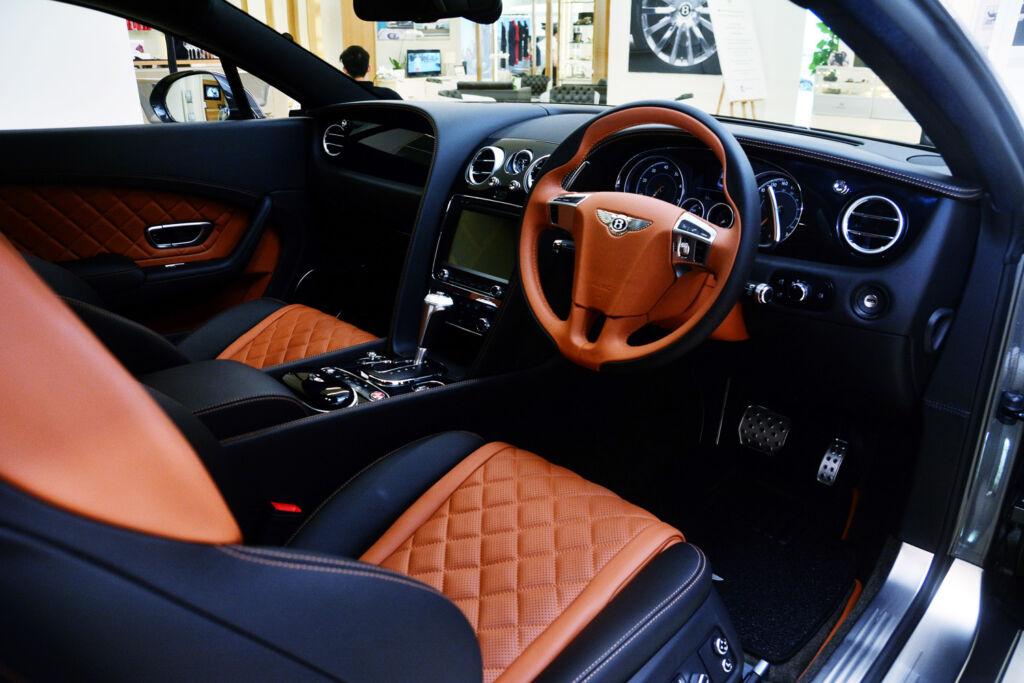 A typically luxurious Bentley car interior